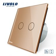 Intrerupator draperie Livolo, wireless, auriu